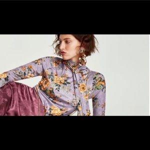 Zara Bow Tie Turtleneck Floral Blouse